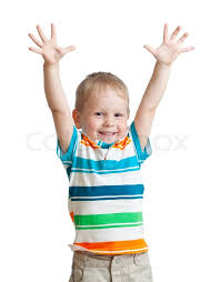 Boy with arms up