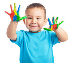 Boy with coloured hands