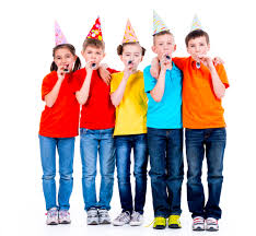 kids with party hats